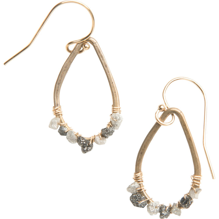 Raw Diamond Teardrop Earrings