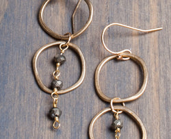 Karma Pyrite and Yellow Bronze Drop Earrings