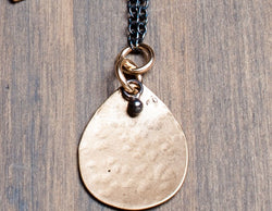 Yellow Bronze Rounded Teardrop and Silver Chain Necklace