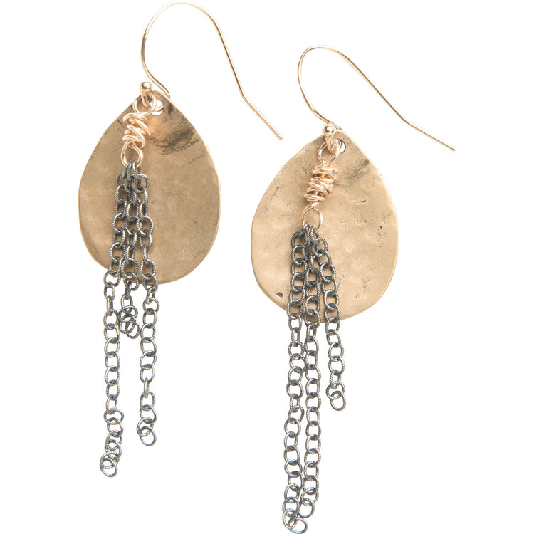 Organic Yellow Bronze Teardrop and Chain Dangle Earrings