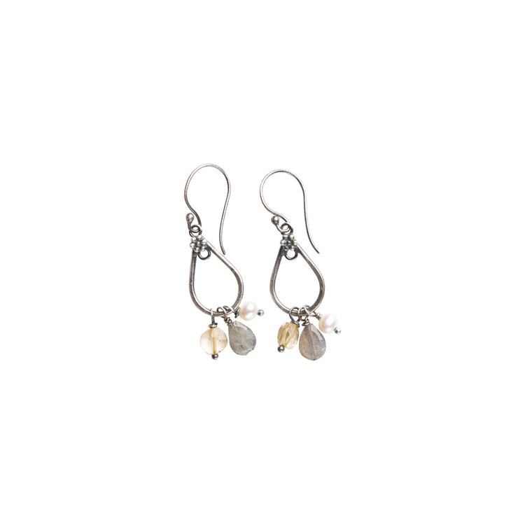 Gemstone drop earrings with labradorite, citrine and pearls