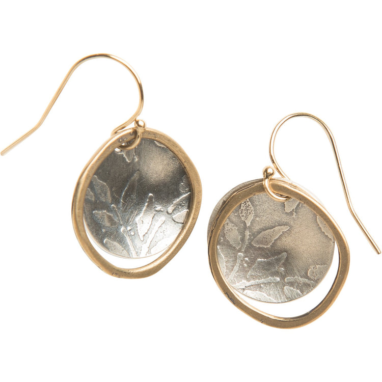 Desert spring sterling and yellow bronze earrings