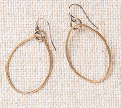 Organic Yellow Bronze Hoop Earring