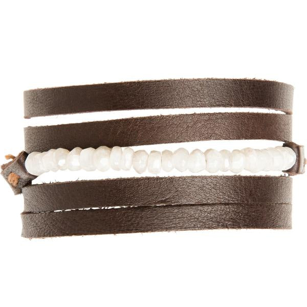 Moonstone Multi-Wrap Leather Bracelet