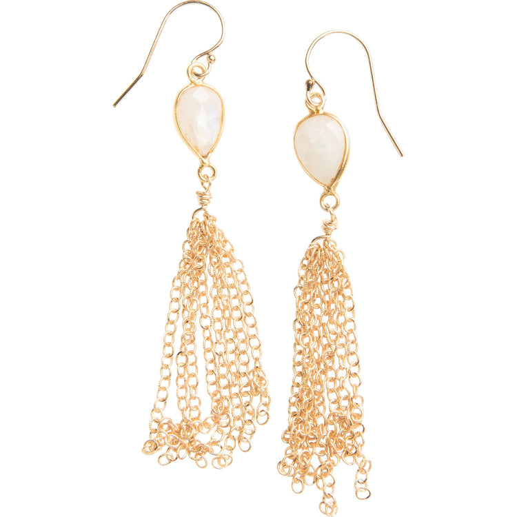 Moonstone drop fringe earrings in gold