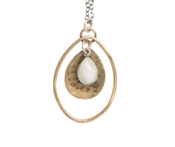 Long moonstone mixed metals necklace