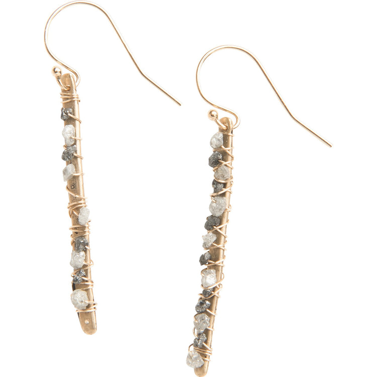 Raw Diamond Stick Earrings, Medium