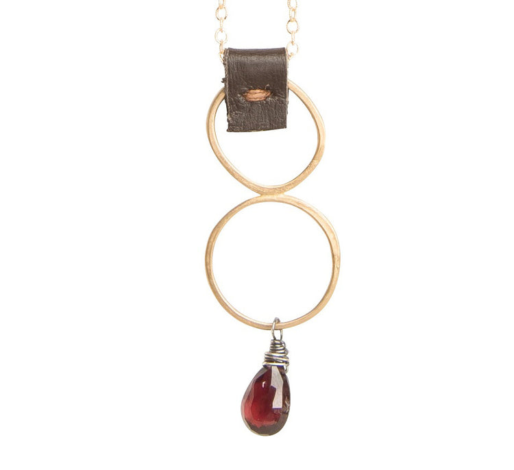 Red Garnet Necklace with Chocolate Leather Accent