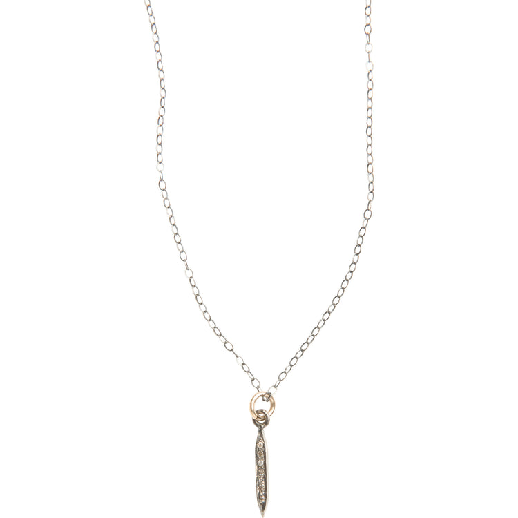 Everyday Diamond Mini Spike Necklace on Silver Chain
