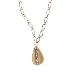 Everyday Diamond Small Spike Necklace with Teardrop in Silver