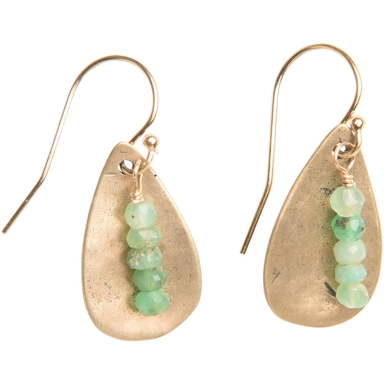 Chrysoprase Teardrop Earrings in Yellow Bronze