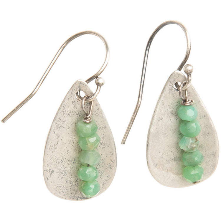 Chrysoprase Teardrop Earrings in Sterling Silver