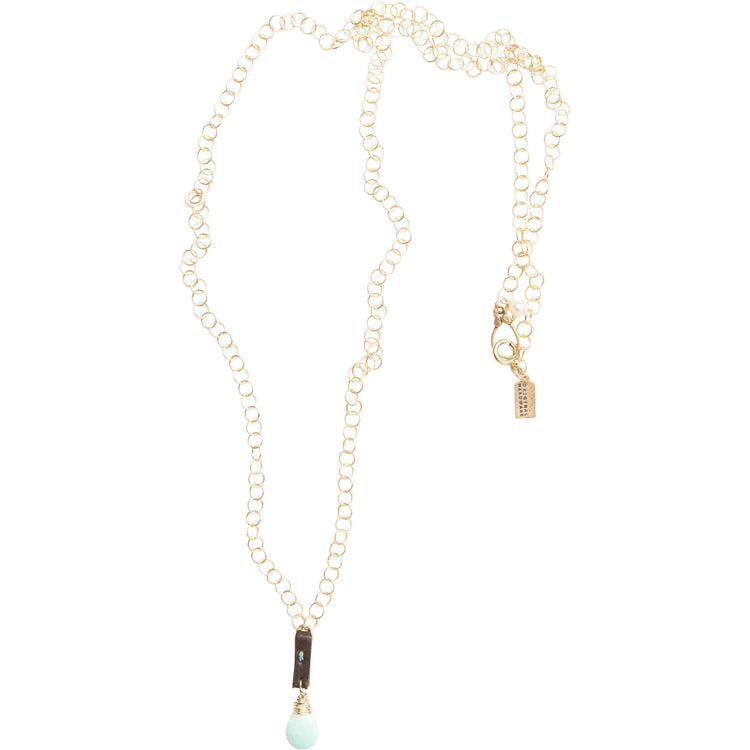 Long Gold Filled necklace with Sleeping Beauty Turquoise pendant
