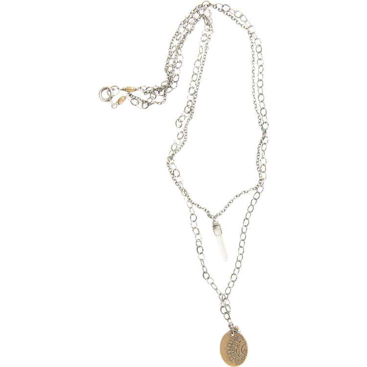 Double Strand Wanderlust Necklace in Yellow Bronze with Crystal