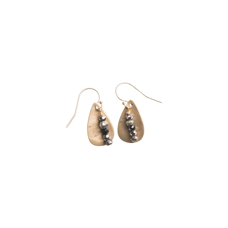 Noir Teardrop Earrings in Yellow Bronze