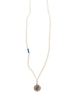 True North Lapis Large Pendant Necklace in Gold