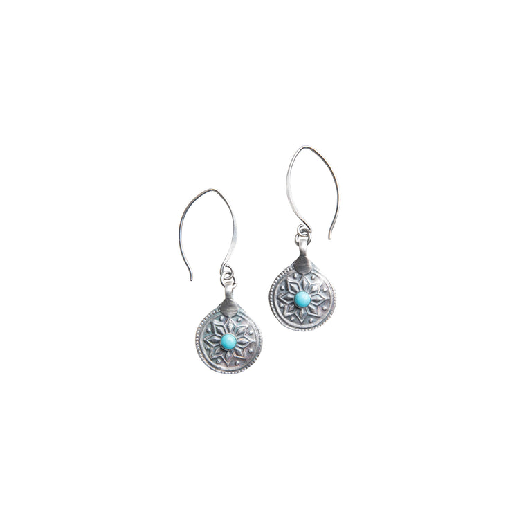 True North Turquoise Medallion Earrings in Silver