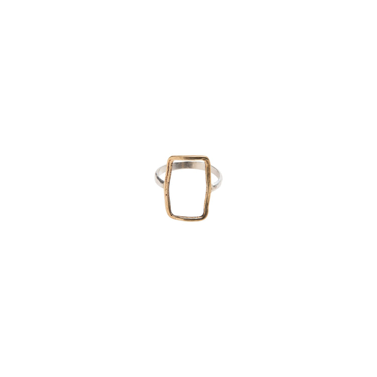 Yellow Bronze Short Vertical Rectangle Ring