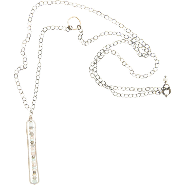 Long Sedona Mix Bar Necklace in Silver