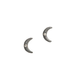 Petite Diamond Crescent Moon Stud Earrings