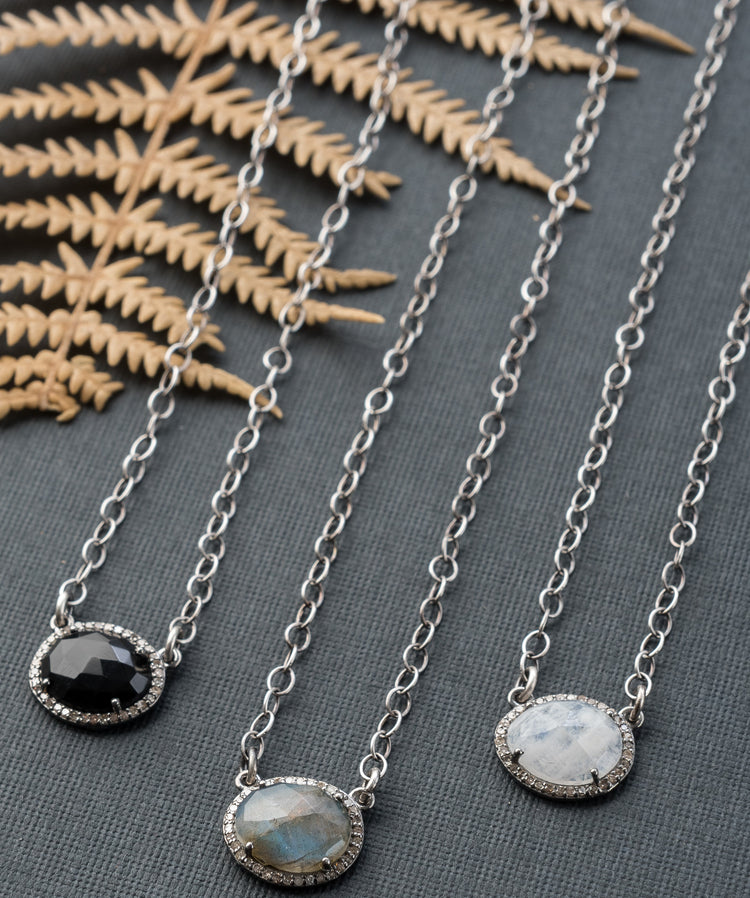 Small Freeform Gemstone and Diamond Halo Necklace with Sterling Silver Chain