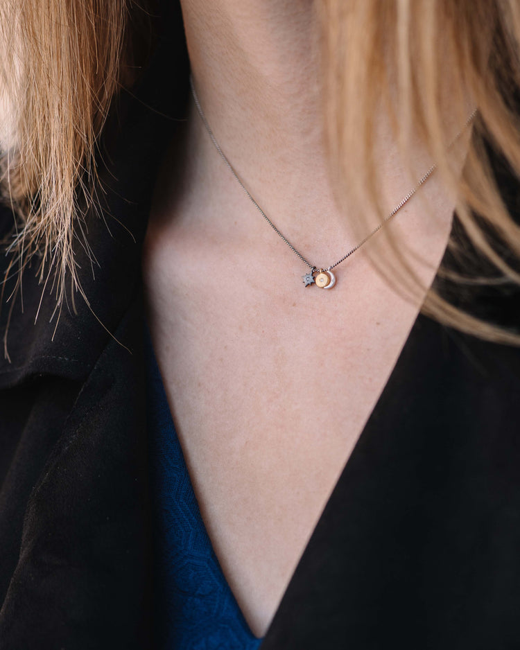 Petite Diamond Sun, Moon, Star Cluster Necklace