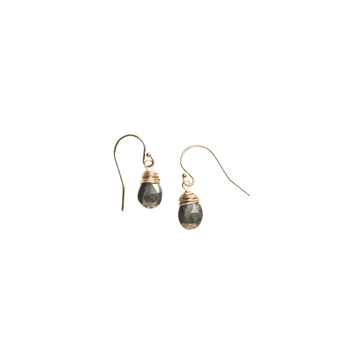 Short Pyrite Drop Earrings in Gold