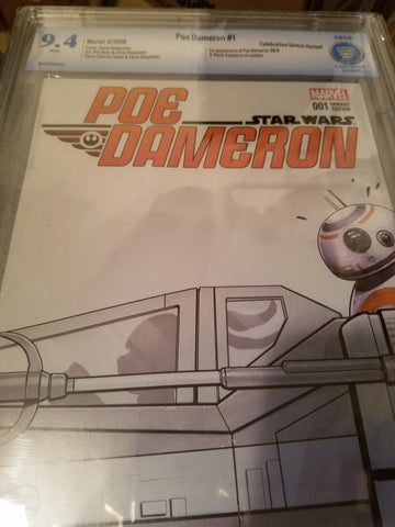 Star Wars Poe Dameron #1 CBCS 9.4 Celebration Sketch Variant Serial # 16-15BC960-003
