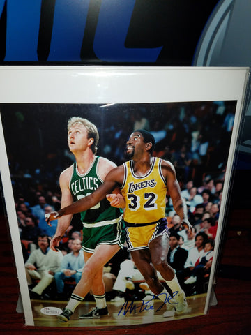Magic vs Bird Autographed Magic Johnson photo