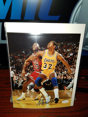 Magic vs Jordan Autographed Magic Johnson photo