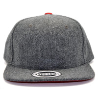 6P - GREY WOOL W/ RED UNDERBRIM