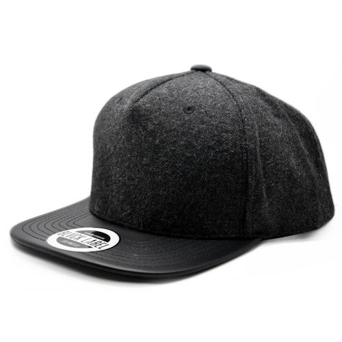 5P - CHARCOAL WOOL/BLVCK LEATHER