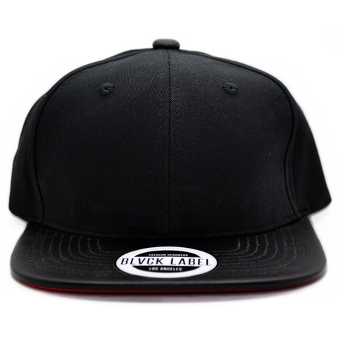 6P BLVCK/ LEATHER BLVCK W. RED UNDERBRIM