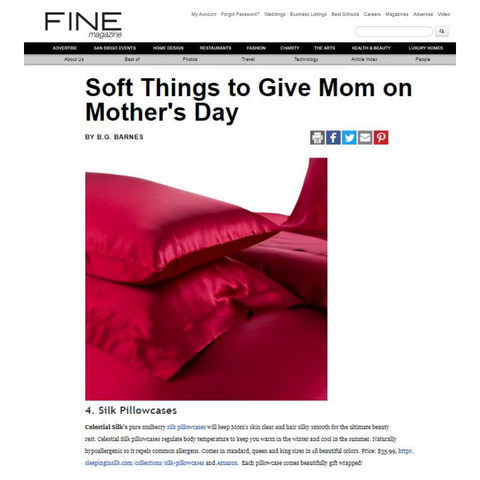 Fine Magazine Gifts for Mothers Day Celestial Silk Pillowcase