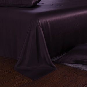 25 mm silk bed sheet set plum
