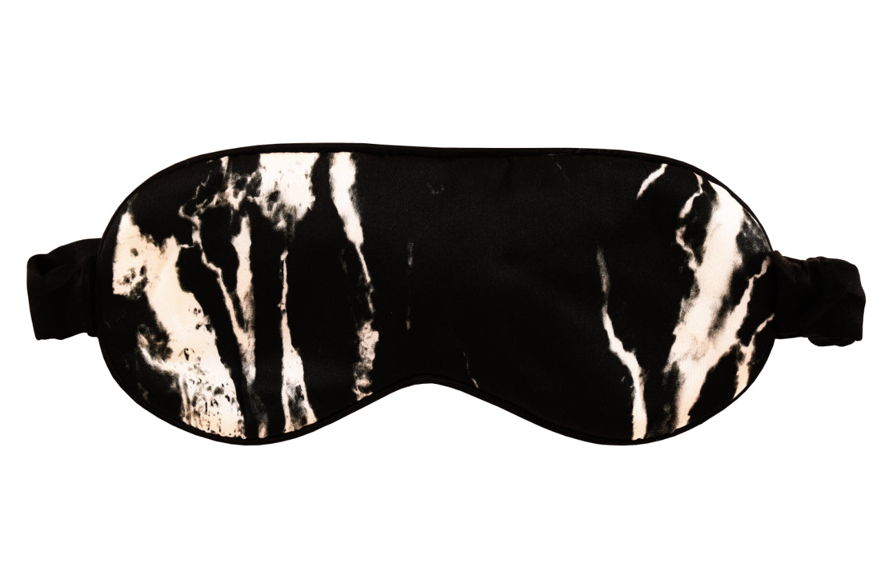 MULBERRY SILK EYE MASK - BLACK MARBLE