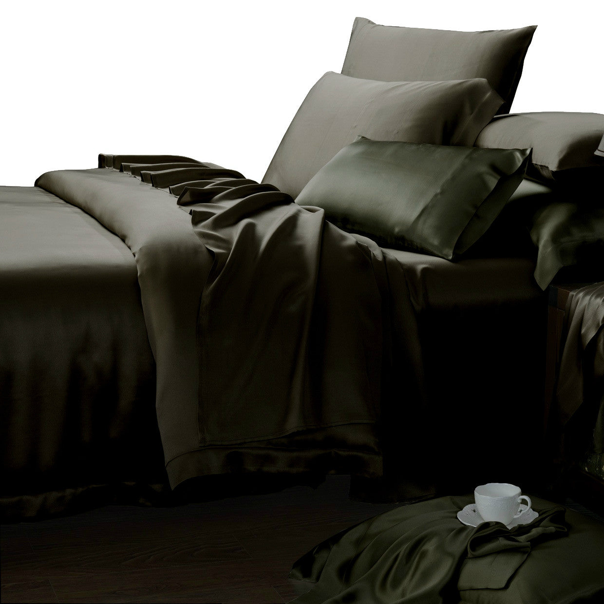 ... Charcoal Gray Mulberry Silk Sheets 22 Momme ...