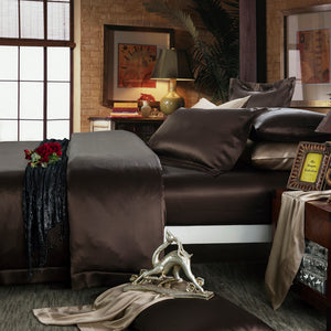 pure silk sheet set chocolate 22 momme