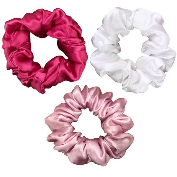 hot pink silk scrunchies pink silk scrunchy set