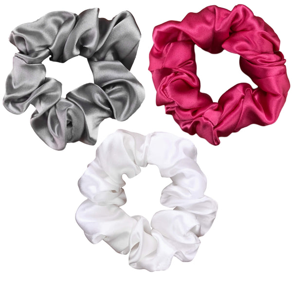 hot pink silk scrunchies pink silk scrunchy set silver silk scrunchy