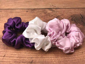 Silk Hair Ties - Plum, Pink and White (Large)