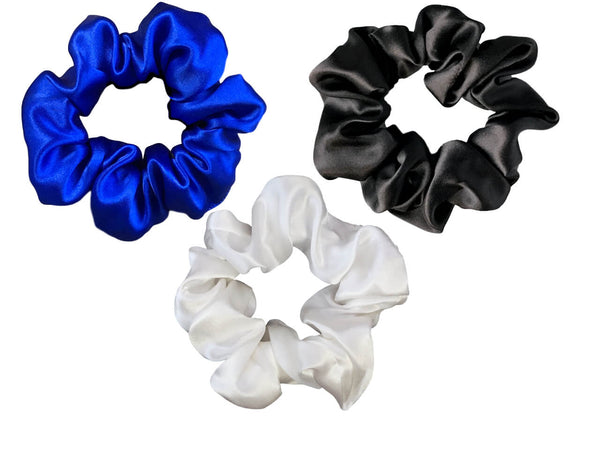 blue white black silk scrunchies mulberry silk scrunchies for hair