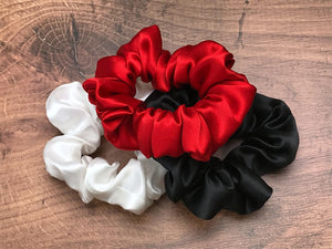 red white black silk scrunchies mulberry silk scrunchies for hair