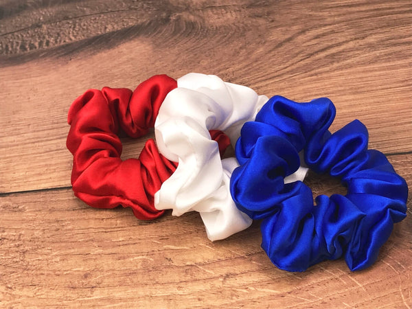 red white and blue scrunchies patriotic scrunchies 4th july scrunchies  july 4 silk scrunchies