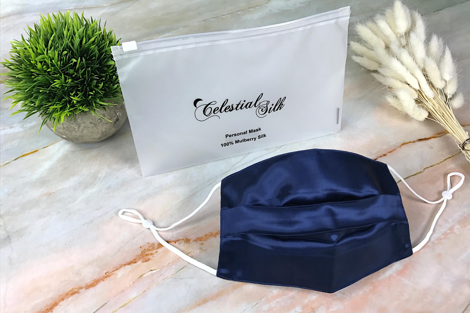 Silk Face Covering with Nose Wire - Navy Blue (Pleated)