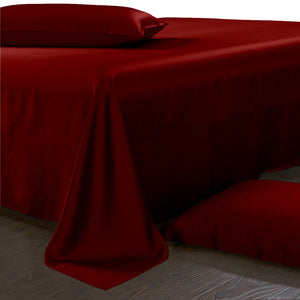 Dark Red Pure Mulberry Silk Sheets - 19 Momme