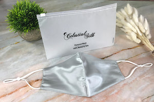 silver silk face mask silk face mask silver silk face covering with carrying bag