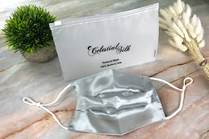 silver pleated silk face covering for mouth silver pleated silk face mask with carrying bag