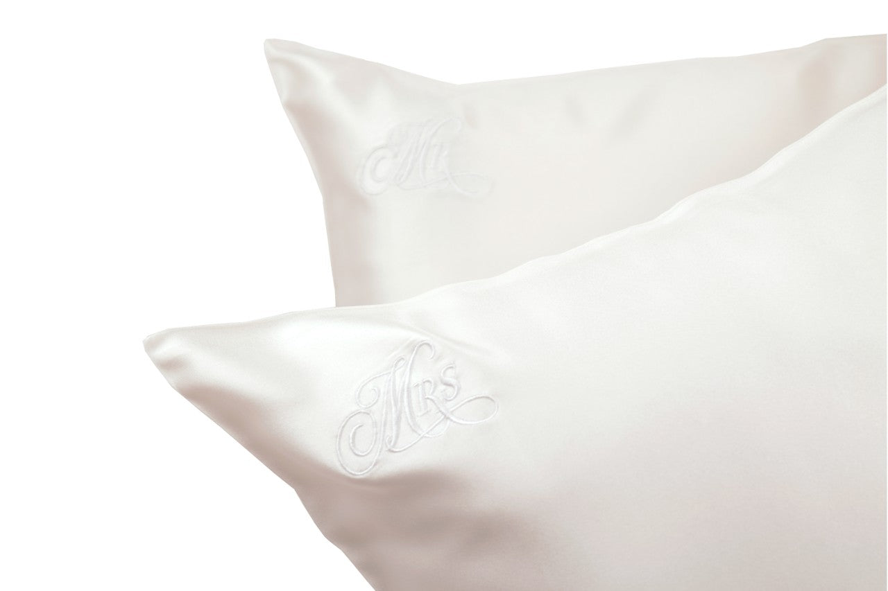 mr and mrs silk pillowcase set wedding anniversary gift