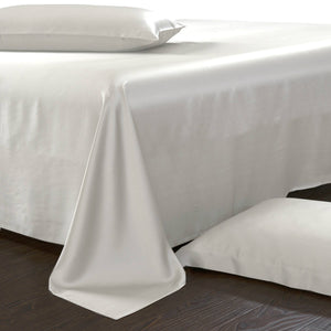 white silk sheet set